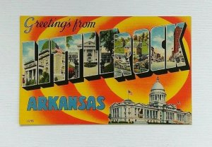 Large Letter Greetings From Little Rock Postcard AR Linen Unposted