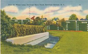Steeplechase Water Jump Horse Racing Saratoga Springs NY New York pm 1952 Linen