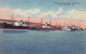 Louisiana New Orleans Ocean Going Ships At The Dock Curteich