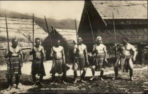 Rotorua New Zealand Maori Warriors Real Photo Postcard - Ethnography