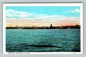 Traverse City MI-Michigan, West Bay Town Skyline, Vintage c1930 Postcard