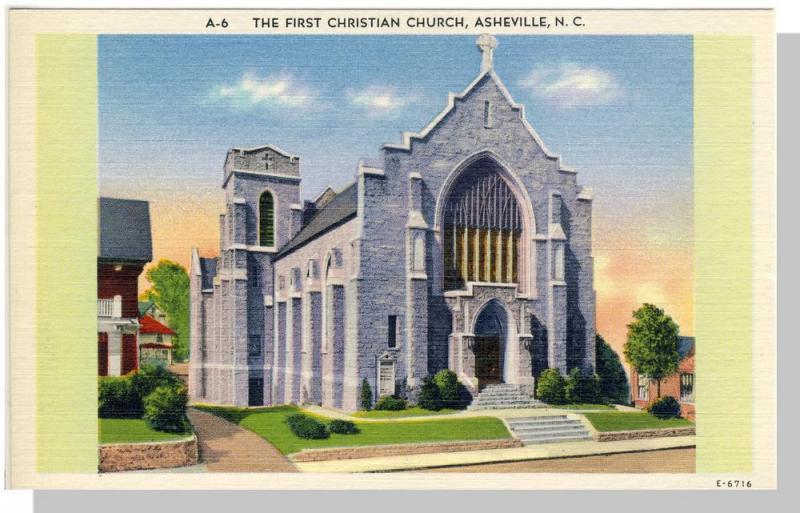 Asherville, North Carolina/NC Postcard, Church, Near Mint!