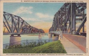 Tennessee Memphis Memphis And Harraham Bridges Spanning Mississippi River