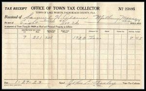1923 Town Of Lake Worth, Florida, Tax Collector, Billhead A1