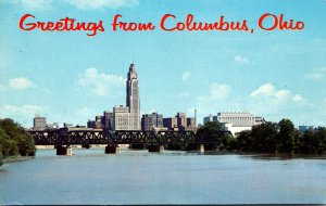 Ohio Columbus Greetings Showing Skyline As Seen From Across The Scioto River ...