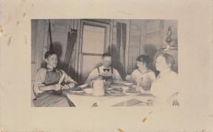 Eats~Handsaw~Canoe Paddles~Oil Lamp~Speckled, Enamel Pitcher~Oil Lamp~RPPC c1910