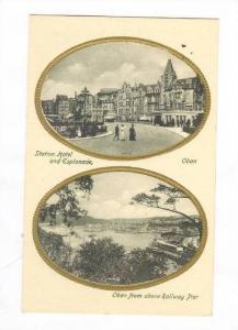 Oban, UK, 2 view postcard, 00-10s Station Hotel & Panorama