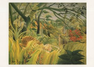 Henri Rousseau Tiger In A Tropical Storm Victorian Painting Postcard