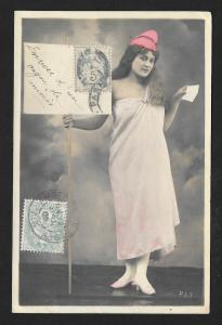 FRANCE Stamps on Postcard Marianne Real Photo PC Used c1905