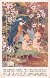 Kingfisher Green, Kingfisher Blue, Pixie Boys Fishing, Bird, M. Sowerty 1917