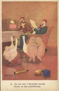Clown Goose Pig Boar, Dancing Instruments Toys (1940s)