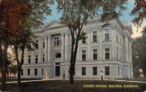 Salina Kansas Court House Exterior Street View Antique Postcard K25292