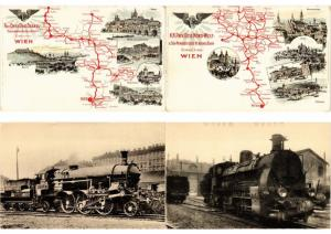 AUSTRIA - HUNGARY, TRAINS, LOCOMOTIVES RAILWAY 42 Vintage Postcards Incl. FLEURY