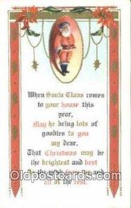 Santa Claus Postcard, Chirstmas Post Card Old Vintage Antique Carte, Postal P...