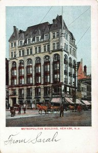 Metropolitan Building, Newark, N.J., Early Postcard, Used in 1909