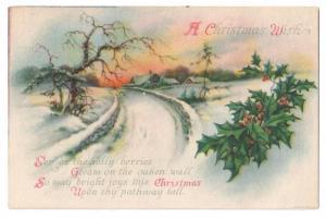 Unsigned Clapsaddle Christmas Poem Sunset Wolf ca 1910