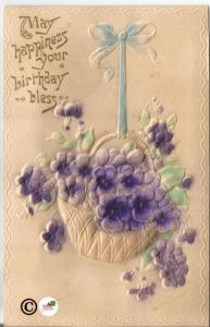 Unique Vintage Postcard w/Basket of Ultra Violet Purple Flowers Heavily Embossed