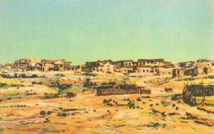Old Laguna Indian Pueblo, New Mexico, unused linen Postcard
