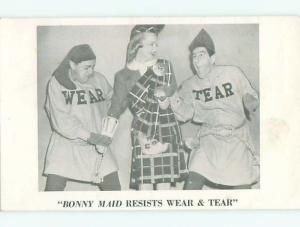 Pre-1952 Risque MEN HOLD HANDS OF PRETTY GIRL IN SCOTTISH DRESS AB7357