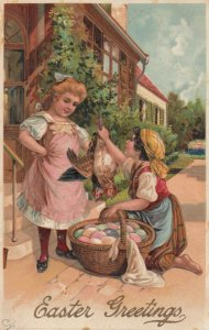 EASTER, 1900-10s; Girl showing other girl chickens, eggs in basket, PFB 8442