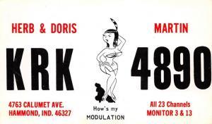 Hammond Indiana~Herb/Doris KRK4890 Lady Modeling Hows My Modulation~Postcard
