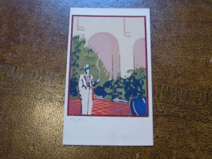 Topanga Canyon CA Serigraph Hand-Made Postcard Sheehan Santa Barbara