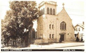 Berlin Wisconsin~Grace Lutheran Church~House Next Door~Fence Drop Off~1940 RPPC