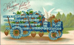 Vintage French RPPC Greetings Postcard Bonne WAGON Tinted Photo
