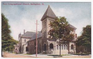 First Congregational Church Springfield Illinois 1910c postcard