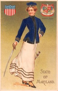 State Girl Post Card State of Maryland USA Silk material as Coat Unused
