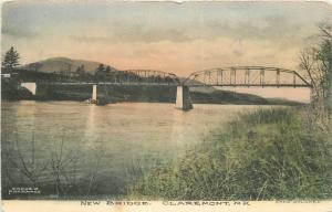C-1910 Claremont New Hampshire New Bridge Dodgils hand colored postcard 1611