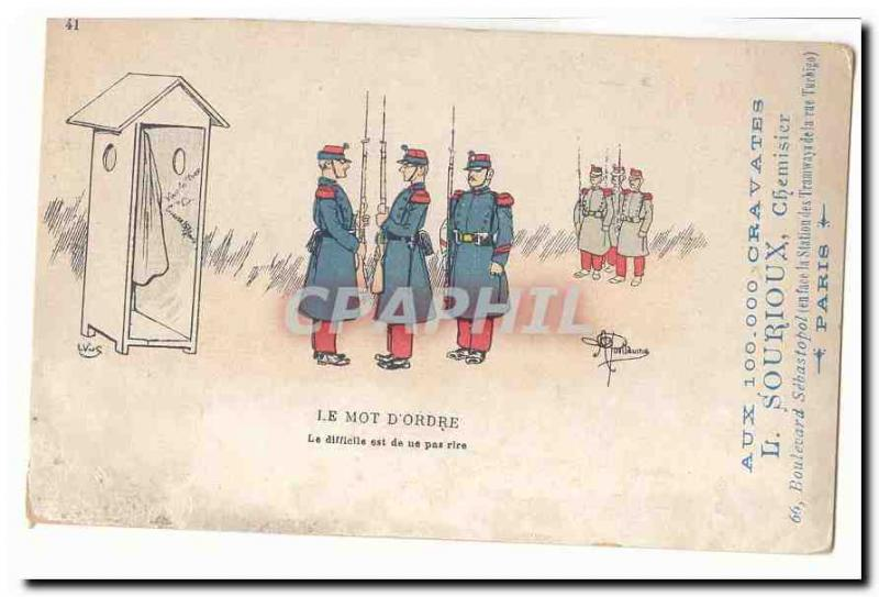 Vintage Postcard Militaria the watchword the difficult one is of Na not to laug