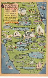 Map Of Florida WithColorful Sights