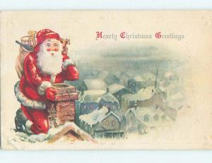 Pre-Linen christmas SANTA CLAUS ON ROOFTOP LOOKS DOWN THE CHIMNEY hr3037