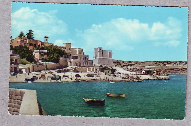 P1463 vintage unused agfacolor postcard malta - st pauls bay old cars town ect