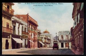 Mint Mexico Real Picture RPPC Postcard Veracruz railway Station Street scene