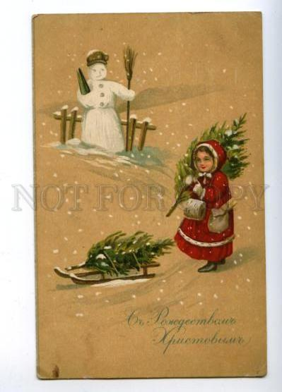 169896 X-mas CHRISTMAS Girl & SNOWMAN vintage RUSSIAN PC