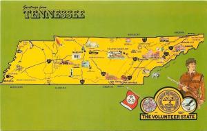 Tennessee~State Map Postcard~Guitar~Steamboat~Atom~Bear~Daniel boone~1950s