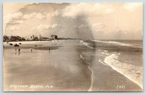 Daytona Beach Florida~Families on Beach~Shore Skyline~Clouds & Waves~1930s RPPC