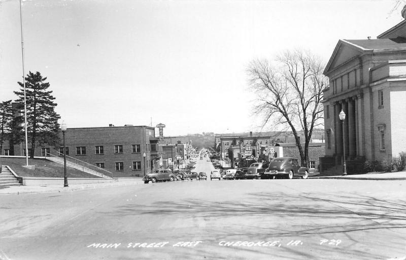 Cherokee Iowa~Main Street East~Chrysler Plymouth Pontiac Chevrolet~c1950 RPPC