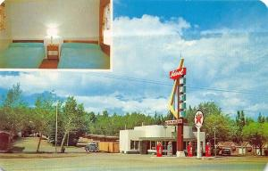 Rawlins WY U.S. 30 Texaco Gas Station Ideal Motel Old Cars Postcard