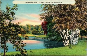 Federal Dam Minnesota~Linen Greetings~Birch Trees~View of Reservoir~Sunset~1940s