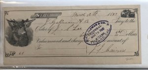TULARE , CA CALIFORNIA - 1887 Receipt Rare MOOSE Art J. GOLDMAN GENERAL