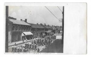 Small Town Parade Business Sign RPPC Pmk Dundee Ohio Vintage Real Photo Postcard