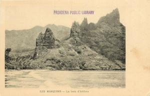 Early Lithograph Postcard; Marquesas Islands French Polynesia Bay of Atiheu