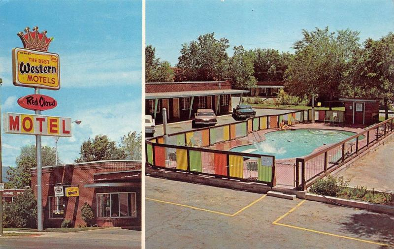 Vernal Utah 1960s Postcard Red Cloud Motel Pool
