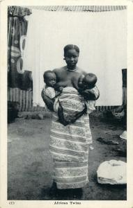 GHANA Gold Coast ethnic african twins real photo postcard