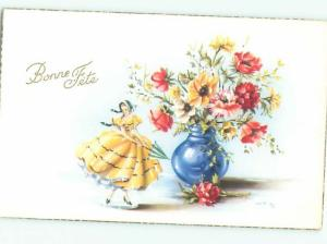 foreign 1961 Postcard ANTIQUE FEMALE FIGURINE WITH FLOWERS ON POSTCARD AC3911
