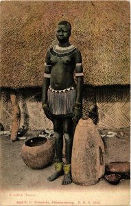 PC CPA ETHNIC NUDE FEMALE NATIVE TYPE GIRL AFRICA Vintage Postcard (b609)