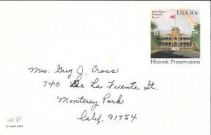 US Used Pre-stamped Postcard UX81 Iolani Palace, Hawaii